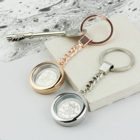 Dates 1928 To 1967 Sixpence Locket Keyring