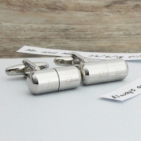 Personalised Engraving + Paper Text, Capsule Cufflinks