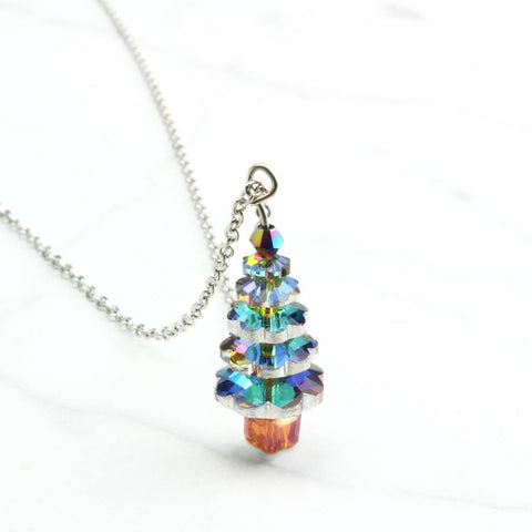 Glass Tiered Christmas Tree Necklace