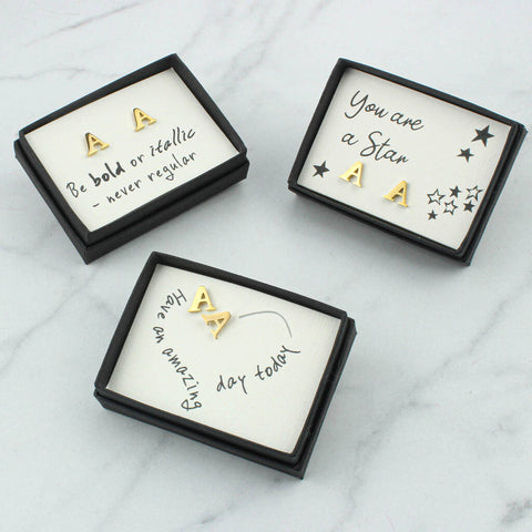 Gold Letter A Earrings