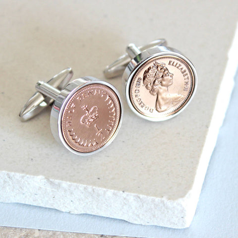 1981 Silver or rose gold half pence cufflinks