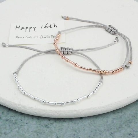 'Happy 16th Birthday' Morse Code Bracelet