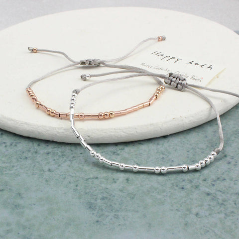 'Happy 30th Birthday' Morse Code Bracelet