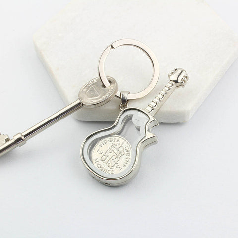 Any Date Lucky Sixpence Guitar Locket Keyring