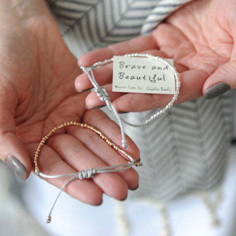 Morse Code 'Brave And Beautiful' Bracelet
