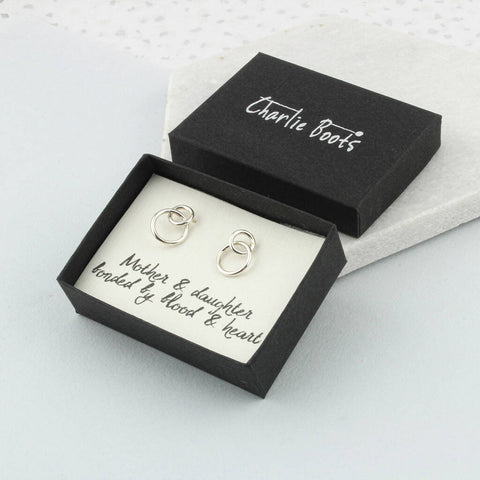 Sterling Silver Mother And Daughter Circle Earrings