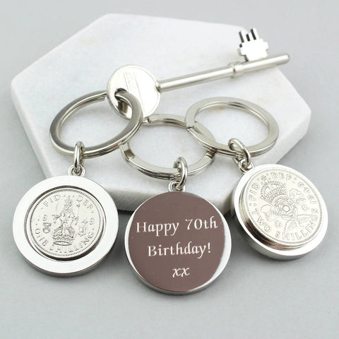 Personalised 1951 70th Birthday Shilling Keyring