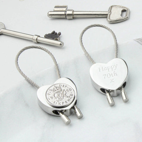 Personalised 1950 70th Birthday Sixpence Heart Keyring