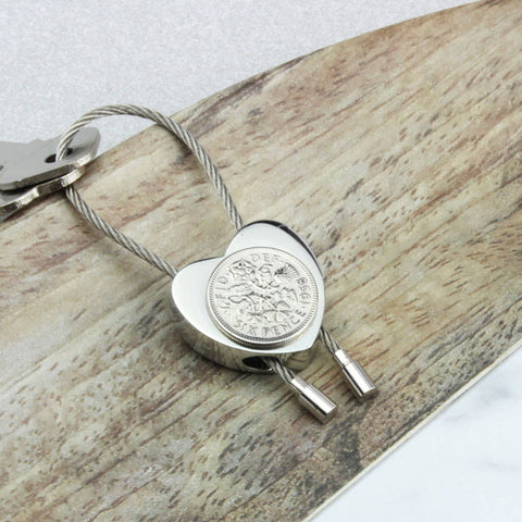 Personalised 1959 60th Birthday Sixpence Heart Keyring