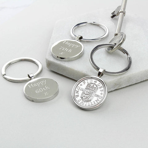 Personalised 1960 60th Birthday Shilling Keyring