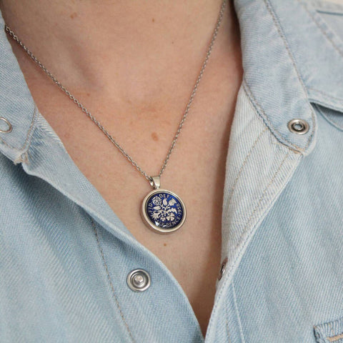 Personalised 1960 60th Enamelled Sixpence Necklace