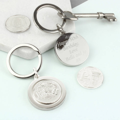 Personalised Initial Letter Ten Pence Coin Keyring