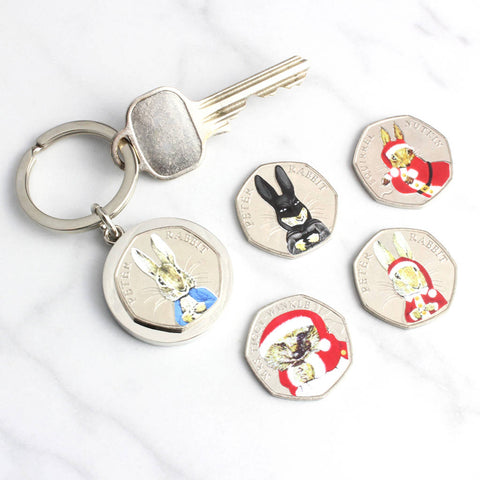 Personalised Peter Rabbit Coin Keyrings