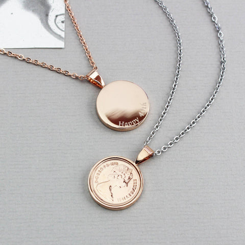Personalised Rose Gold Halfpenny Necklace 1971 To 1983