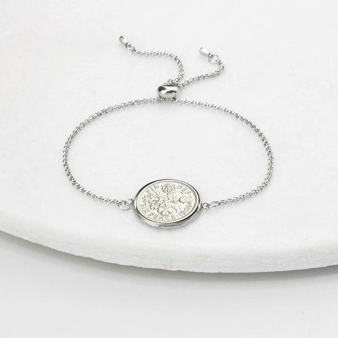60th Birthday Sixpence Bracelet