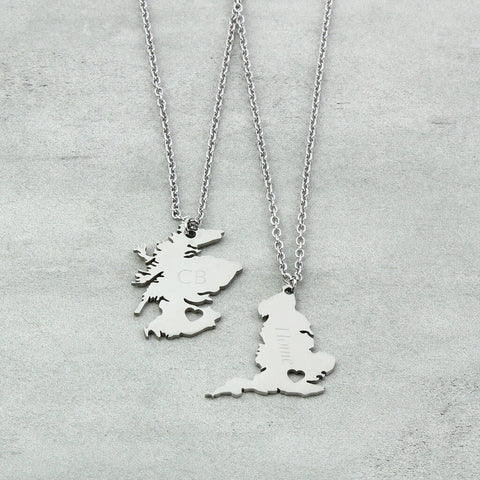 Personalised UK Map Necklaces