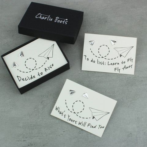 1st Anniversary Paper Aeroplane Earrings