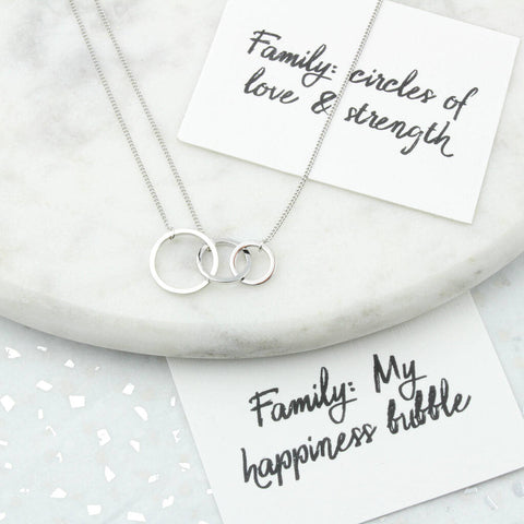 Sisters/Family Silver Circles Necklace