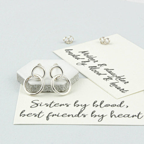Sisters Sterling Silver Circle Earrings