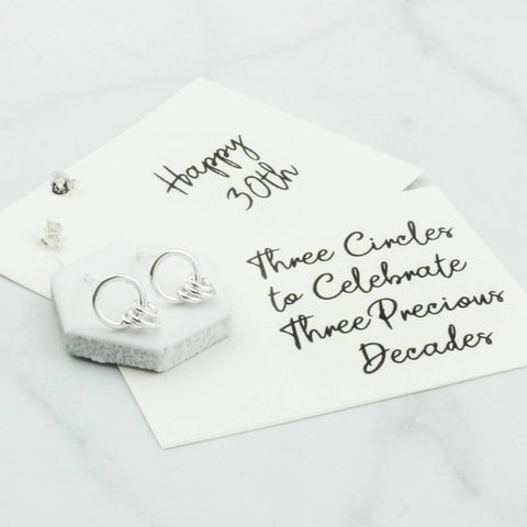 Sterling Silver 30th Birthday Circle Earrings