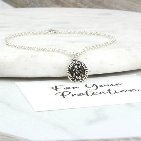 Sterling Silver St. Christopher Chain Bracelet