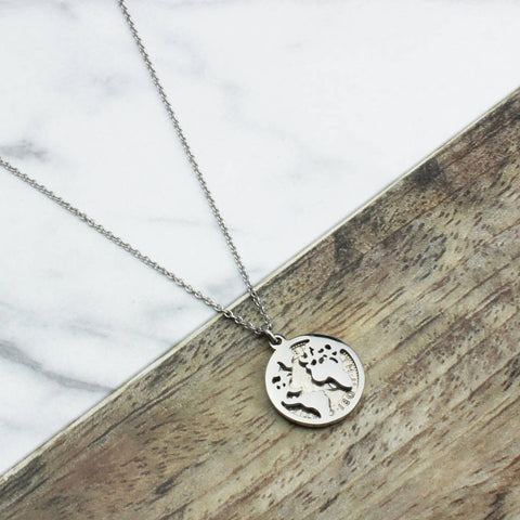 World Map Sixpence Necklace All Dates