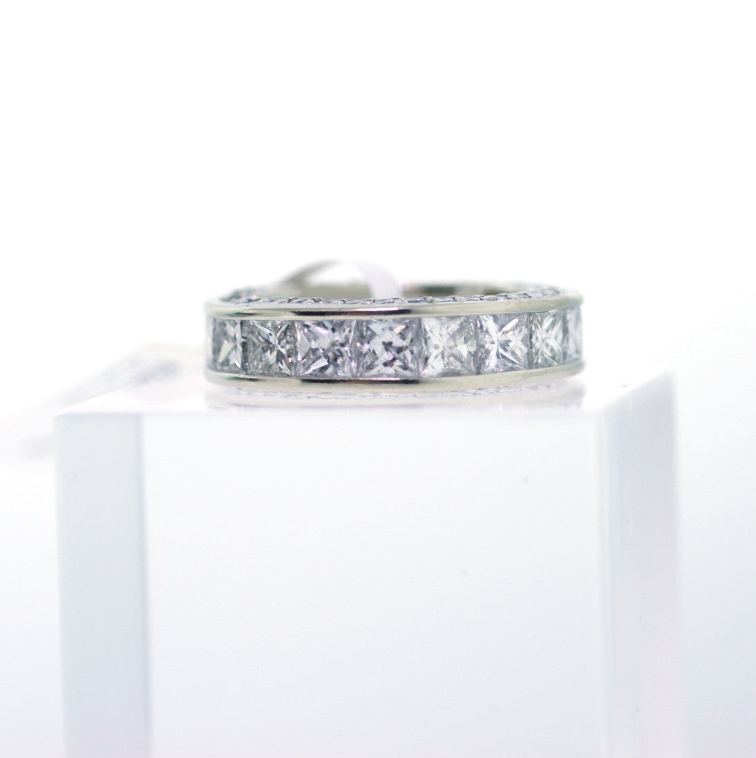 Estate 5.00ctw Princess Cut & Round Brilliant Eternity 14.6gr 14K White Gold Eternity Band BD0167