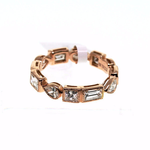 12 mixed cut (Pear, Princess, and Straight Baguette)ξ= 2.28  2.64gr 14K Rose Gold Eternity Band BD0210