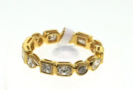 13 Diamond -mixed cut (Pear, Princess, and Straight Baguette) = 1.80 3.02gr 18K Yellow Gold Eternity Band BD0211
