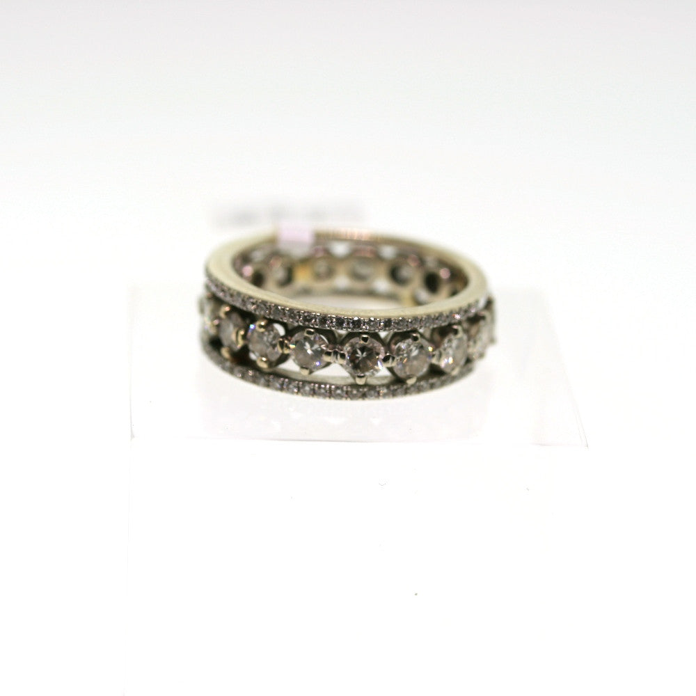 Estate 17 Round Brilliant = 1.60 56 Round Brilliant = .40 14K White Gold Eternity Band BD0226