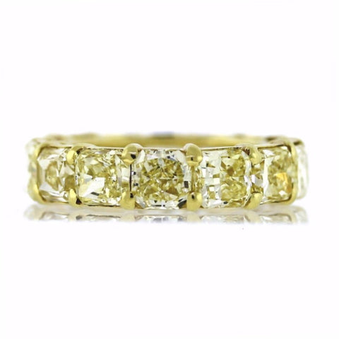 14 Cushion Cut = 10.12ct Fancy Yellow VVS2 GIA New Style 18K Yellow Gold Eternity Band BD0287