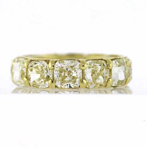 12 Cushion Cut = 12.40ct Fancy Yellow VS1 New Style 6.0gr 18K Yellow Gold Eternity Band BD0295