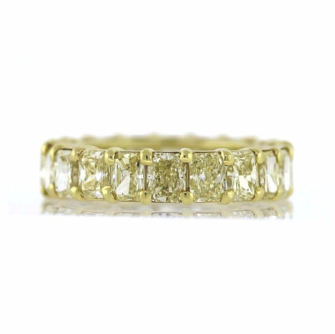 20 Radiant Cut = 9.97 Fancy Yellow Intense VVS1 4.4gr 18K Yellow Gold Eternity Band BD0341