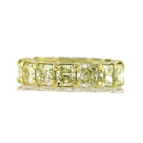 15 Radiant = 8.13 Fancy Yellow VVS1 13 Stones GIA 4.9gr, 18K Yellow Gold Ring BD0342