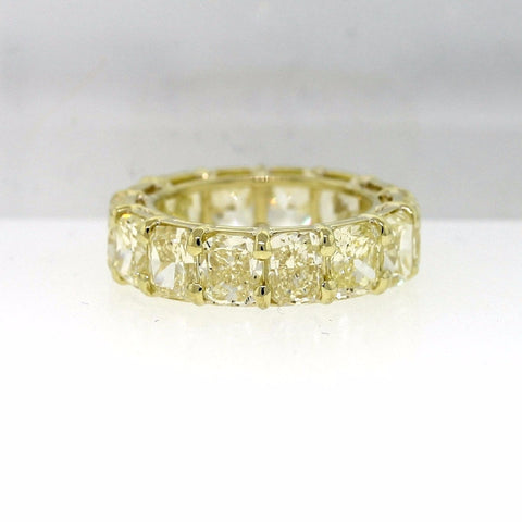14 Cushion Cut = 10.98ct Fancy Yellow VS1 6.0gr 18K Yellow Gold Eternity Band BD0345