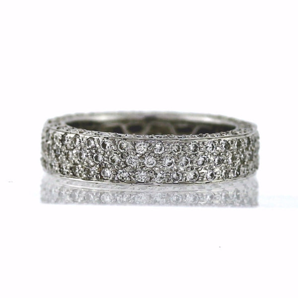 Estate 182 Round Brilliant = 2.75ctw 6.6gr Size 8.5 18K White Gold Eternity Band BD0347