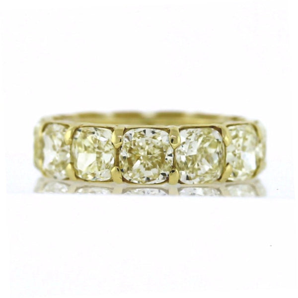 13 Cushion Cut = 13.66ct Fancy Yellow VS1 New Style 6.2gr 18K Yellow Gold Eternity Band BD0411