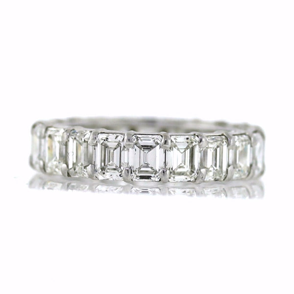 20 Emerald Cut = 6.57ct E VS1 New Style 4.4*4.5mm 5.6gr Platinum Eternity Band BD0457