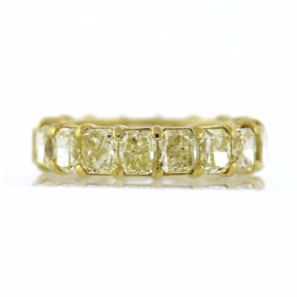 17 Radiant Cut = 10.24ct Fancy Yellow VS1 5.3gr 18K Yellow Gold Eternity Band BD0577
