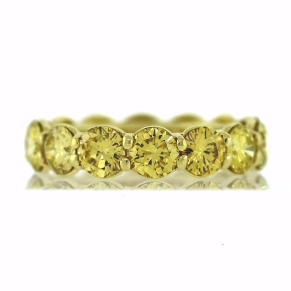 14 Round Brilliant = 5.61ct Fancy Yellow Diamond Irradiated 18K Yellow Gold Eternity Band BD0593