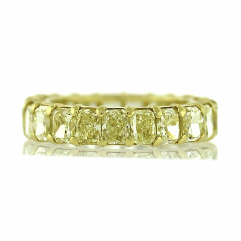 21 Radiant Cut = 7.73ct Fancy Yellow Intense 4.5gr 18K Yellow Gold Eternity Band BD0595
