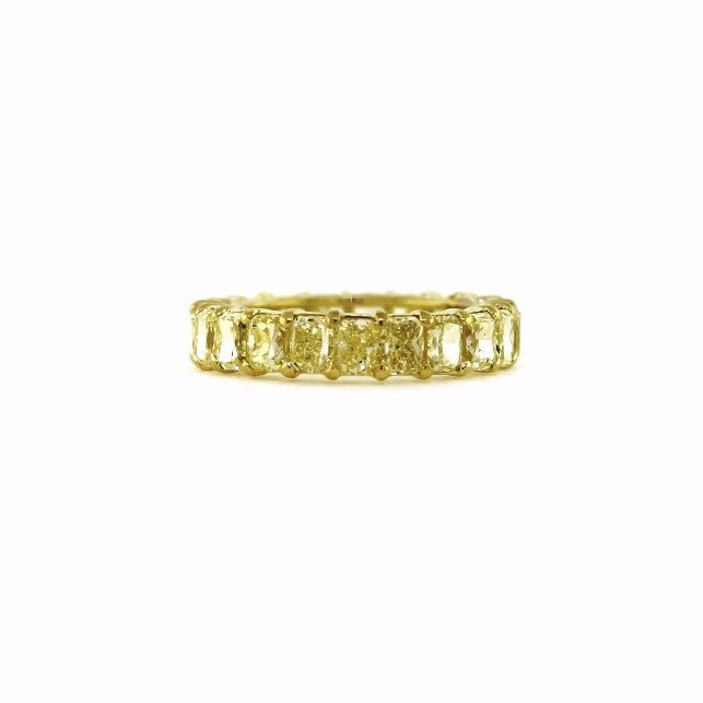 21 Radiant Cut = 7.20ct Fancy Yellow Intense VS1 18K Yellow Gold Eternity Band BD0596