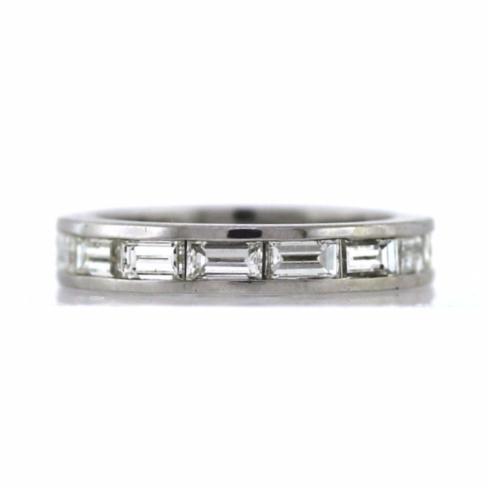 Estate 15 Baguette = 2.50ctw 4.8gr 14K White Gold Eternity Band BD0614