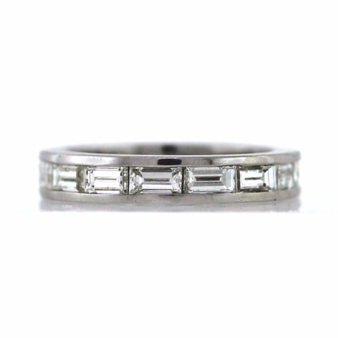 eternity baguette diamond bands ring platinum round exquisite band