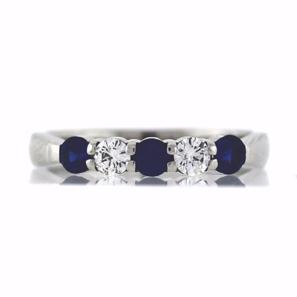 Estate Sapphire & Diamond 14K White Gold Band BD0648