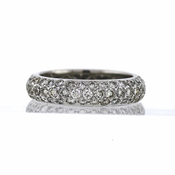 Estate 2.23ctw 3.9gr Pave 18K White Gold Eternity Band BD0667