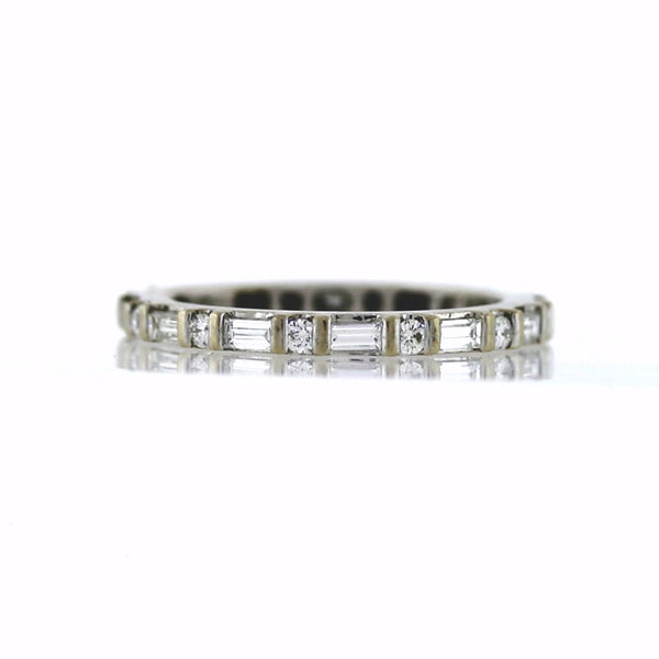 Estate 23 = .60cts Baguette & Rounds 14K White Gold Eternity Band BD0679