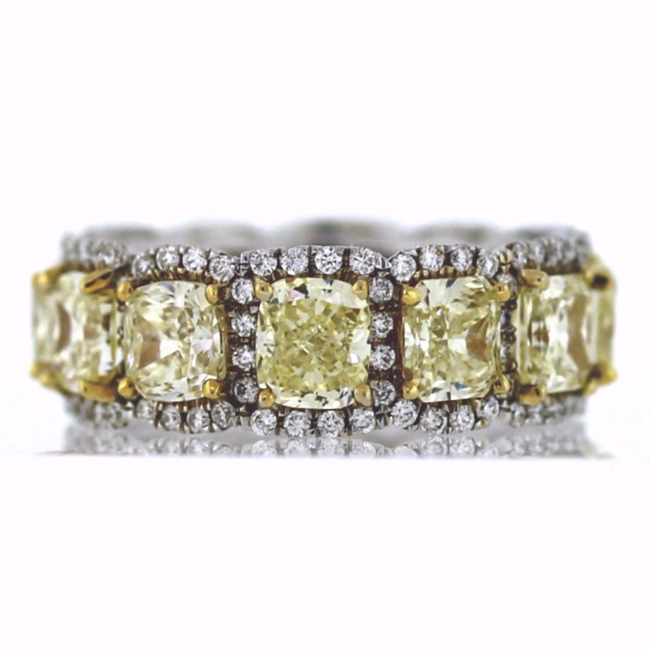 12 Radiant Cut = 6.59ct Fancy Yellow VS1 144 Round Brilliant = 0.81ct G VS1 Two Tone 18K Gold Eternity Band BD0699