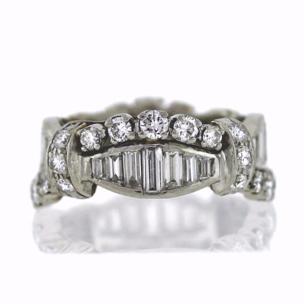 Estate 3.00ctw Baguette & Round 8.3gr Platinum Eternity Band BD0707