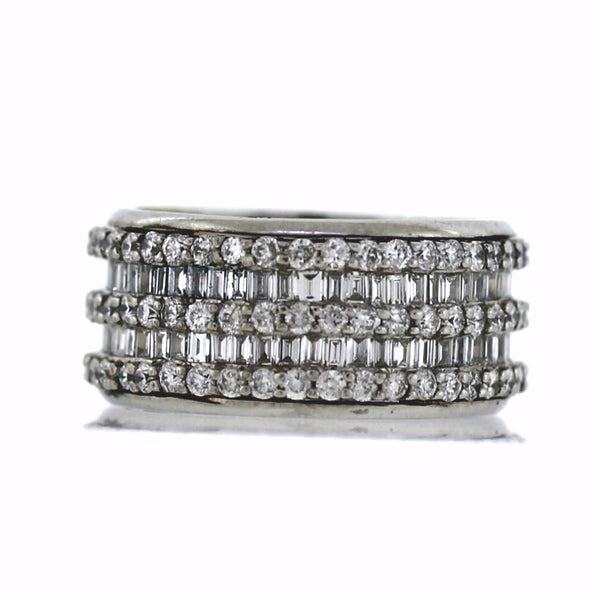 Estate 123 Round Brilliant = 1.23 110 Straight Baguette = 2.20 8.3gr 9.75MM Wide 14K White Gold Eternity Band BD0730